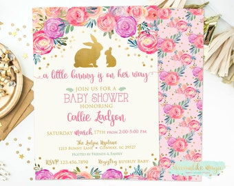 Bunny Baby Shower Invitation, Spring Shower, Easter Baby Shower Invite, Rabbit Baby Shower, Some Bunny Is On The Way, Baby Girl Shower, Gold