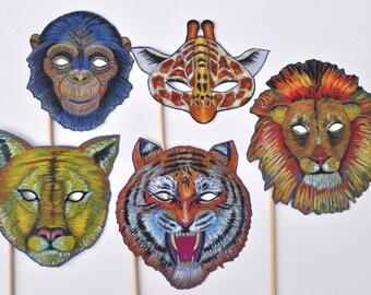 Wild Animal Masks / Jungle Masks / Tiger, Lion, Chimp, Giraffe