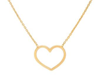 14k Gold Dainty Wire Heart Necklace/Bridesmaids/Wedding/Shower/Birthday/Anniversary/Graduation