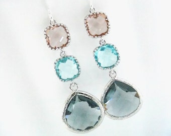 Gray Earrings, Peach Earrings, Aquamarine, Aqua, Glass, Silver, Bridesmaid Jewelry, Bridesmaid Earrings, Bridal Jewelry, Bridesmaid Gifts