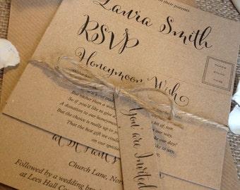 1 Rustic/Vintage/Shabby Chic Style 'Laura' wedding invitation stationery sample