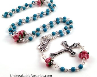 Virgin Mary and Child Rosary Beads In Turquoise Magnesite w Pink Lampwork Roses by Unbreakable Rosaries