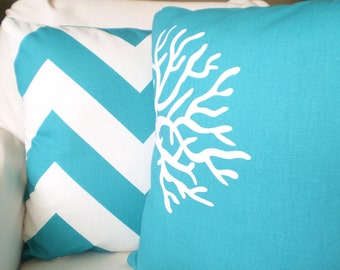 Turquoise Pillow Covers, Decorative Throw Pillow Cushion Cover True Turquoise White Large Chevron Zippy Coral Couch Set of Two Various Sizes