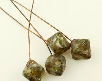 Lampwork Headpins, Rustic Glass Bead Head Pins on Antique Copper Wire, Gray, Brown, Green, Silver