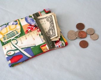 SALE Fabric Zipper Pouch, Zipper Change Purse, School Zipper Pouch, Green Zipper