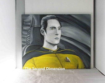 """Star Trek Data The Next Generation Art Painting Stretched Canvas Acrylics - 20"""" x 16"""" Ready To Hang"""