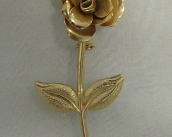 Pin, Long Stem Rose, Gold Tone, 1970's