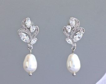 Crystal Bridal Earrings, Pearl Wedding Earrings, Silver Wedding Jewelry, FLEUR