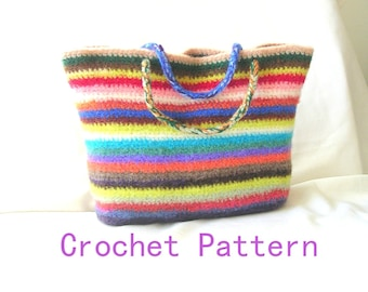 How to Make Crochet Bag Pattern Tutorial, Easy Crochet Felted Bag Pattern, use stash yarn, Instant download file