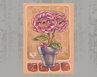 Rose creature - Original ACEO, Marker illustration