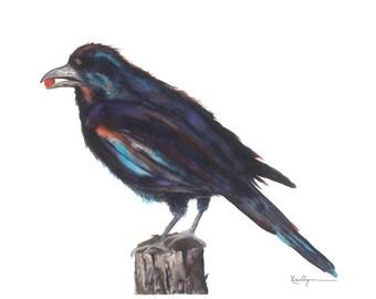 Raven Crow Black Bird  Archival Print of Original Watercolor 5x7 Black Gray Teal Orange Home Office Decor Nature