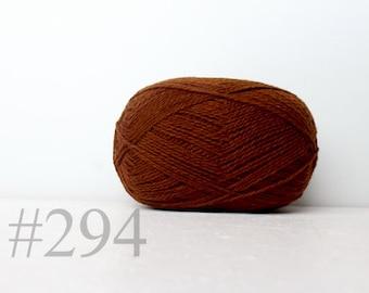 WOOL yarn 100%-knitting yarn -  brown with honey #294