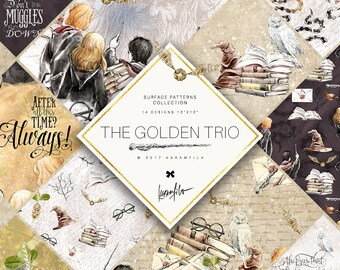 Wizard School Digital Paper Fairty Tale Paper Magic School Fabric Patterns Hogwarts Planner Stickers H Potter Clipart The Golden Trio