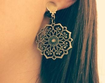 Boho Bohemian Gypsy Bronze Mandala Style Dangle Drop Earrings Jewellery, Mandala Earrings, Bronze Earrings