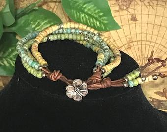 FOREVER IN BLUE jeans bracelet, boho bracelet, seed bead bracelet