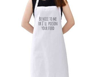 Poison Your Food Kitchen Apron - Cotton Apron - Graphic Apron - Adjustable Apron - Funny Kitchen Supplies - Cooking Apron - Grill Master