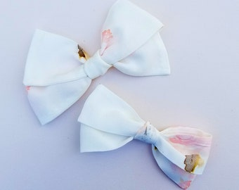 Ivory watercolor Emmie Bow or Headband