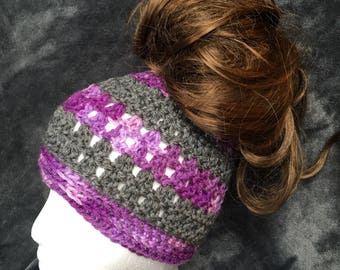 Handmade Striped Messy Bun/Ponytail Hat