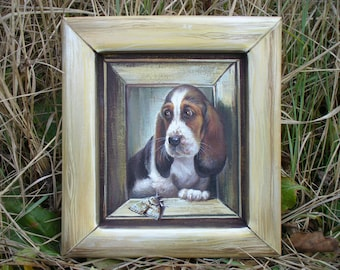 Basset Basset hound Custom dog portrait Pet portrait Dog painting Dog portraits Personalized pet Personalized dog Basset hound