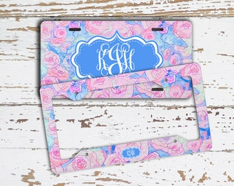 Monogram car license plate frame or front license plate with blue and pink flowers, Floral car decor, Flowers car accessories for her (1688)