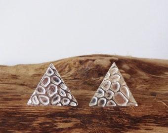 Triangle fine silver earrings