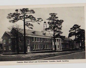 Vintage Postcard, Camden, South Carolina, Camden High School and Gym, 1947