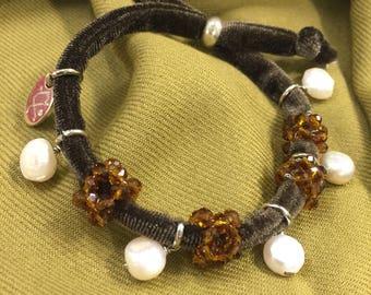 Velvet crystal bracelet and freshwater pearls