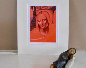 Red Madonna Contemporary Religious print of a chalk pastel drawing signed by the artist mounted Art Print - Christian and religious art.