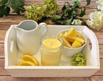 Lemon Beeswax Tallow Candle - Beeswax Candle - Organic Lemon Candle - Beeswax - Tallow - Lemon Candle - Citrus - Gift - Garden Light Candles