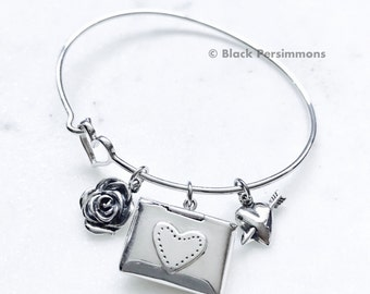 Heart Envelope Locket with Rose & Heart and Arrow Charm Bangle Bracelet - Solid 925 Sterling Silver - Insurance Included
