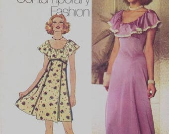 Simplicity 5974 Misses Raised Waist Dress With Ruffled Flounce Neckline Sewing Pattern, Size 12, UNCUT