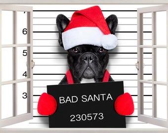 Bad Santa Dog Christmas  3D Wall Sticker Art Decal 457