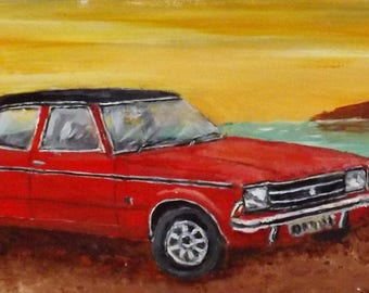 Classic car collection acrylic on wood original art