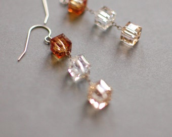 Trio, Sunset : Stacked Cube Swarovski Crystal Earring