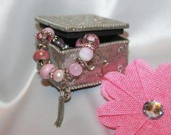 Rose Quartz and Pearl Elasticized Charm Bracelet