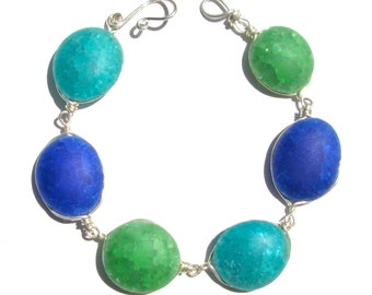 Frosted Dark Blue Green Mix Recycled Glass Bracelet/ Necklace