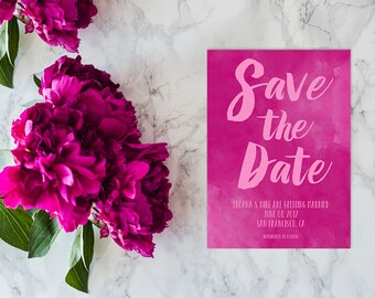 Watercolor Save The Date Cards in Fuschia Pink / PRINTED 5x7 Save The Dates in Watercolor Brush
