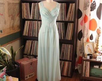 pale aqua vintage nightie by Munsingwear . sheer robins egg nightie, full length nylon nightgown with gathered bodice, size 32
