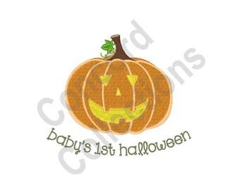 Baby's 1st Halloween - Machine Embroidery Design, Halloween, Baby, 1st Halloween, Jack-O-Lantern