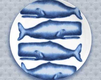 whales, blue whale plate