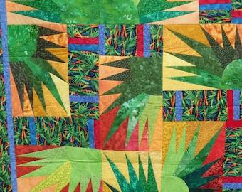 lap quilt,green quilt, couch throw, Asian quilt, modern quilt, wall decor