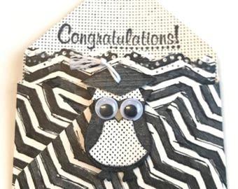 Grads Gift Card Holder/Congrats Grad/Punch Art Card/Owl Graduation Gift/Money Envelope/Treat Holder/Grad Gift for Him/Gift for Her/StampinUp