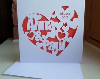 Personalised Heart Cut Out Card
