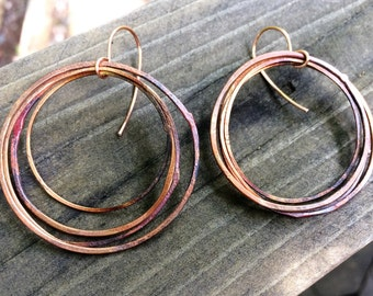 Copper Hoop Earrings - hand forged simple round hammered wire ring flame painted handcrafted jewelry
