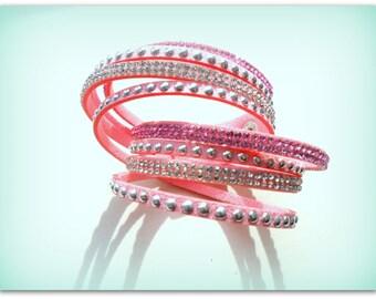 Pink Silver Diamante Strap Bracelet Diamante Cuff Bracelet Diamante Band Summer Accessories Bracelet UK Shop