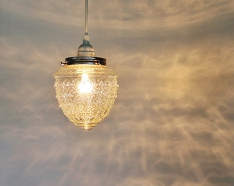 Raspberry Shaped Textured Hanging Pendant Lighting Fixture Crystal Clear Dazzling Diamonds Pressed Glass BootsNGus Lamp Design
