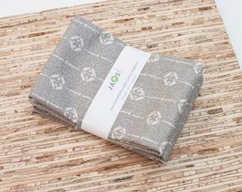 Large Cloth Napkins - Set of 4 - (N4507) - Gray Dash Geometric Modern Reusable Fabric Napkins