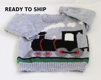 Wool Train Sweater, Ready To Ship, Childs Size 4, Wool Pullover Sweater, Handknitted Toddler Train Jumper Jersey Pulli