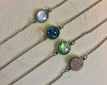 Bronze 12mm Druzy Circle Necklace 14 inches