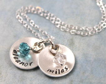 Mother's Day gift, Personalized Jewelry, mother gift, personalized necklace, birthstone jewelry, custom hand stamped, personalized gift